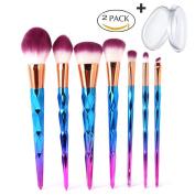 Makeup Brush Set, MYSWEETY 2017 Super Soft 7PCS Professional Foundation Cosmetic Eyeshadow Brush with 2PCS Silicone Makeup Sponge
