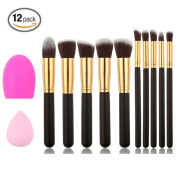 Professional Cosmetic Makeup Brush Kit Soft Synthetic Kabuki Face Foundation Blending Blush Eyeshadow Blush Concealer Powder Brush Kit with Blender Sponge and makeup Clean Tools