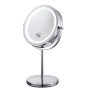 ALHAKIN 18cm 10x Magnified table mirror 360° Cosmetic Makeup Mirror Double side mirror,LED Lighting,Chrome finished