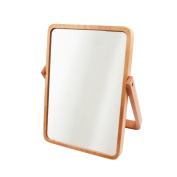AlierKin Tabletop Vanity Makeup Mirror, Rectangle, Pine Wood