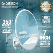Gideon Fogless Shower Mirror with Powerful Suction-Cup Mounting Base - 18cm Diam., 360 Degree Rotating for Optimal View Position - For Shaving, Hairstyling and Makeup Application [UPGRADED VERSION]