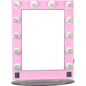 Hiker 12 Dimmer Light Piece Body and Glass Base Hollywood Vanity Makeup Wall Mount Mirror Table Top, Pink