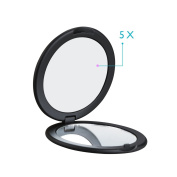 AlierKin Portable Travel Mirror - 1X and 5X Magnifying Mini Round Handheld Makeup Mirror Perfect for Pocket Purses