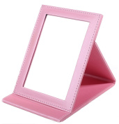 Yunko Beauty Upscale Portable Folding Travel Mirror with Standing Vanity Mirror Desktop Makeup Mirror Pocket Cosmetic Mirror Compact Mirror Large Pink
