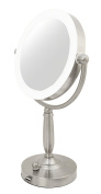 Rucci LED Light Mirror Desktop/Stand with Nickel Finish, 2.3kg