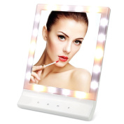 BeneU LED Lighted Makeup Vanity Mirror Wall Mount Large Smart Touch Illuminated Cosmetic Mirror with 18 Bulbs
