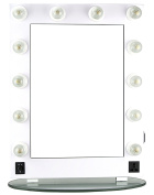 HIKER Lighted Vanity Mirror in White Glossy, Dimmer-HKL4301PCWH