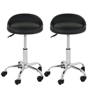 Super Deal Set of 2 Adjustable Height Rolling Swivel Stool Tattoo Facial Massage Spa Salon Stool