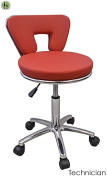 Red Hydraulic Tattoo Salon Rolling Stool Massage Spa Swivel W/ Backrest Support