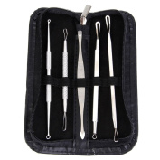 'LQZ(TM) 5 PCS Blackhead Remover Tool Set Acne Pimple Extractors Tool Stainless Steel for Facial Acne and Comedones-including Lance Tools,Needles,Cone Dome Extractors