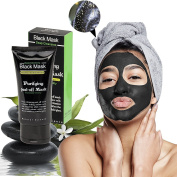 Blackhead Remover Mask, Black Mud Cleaner Deep Purifying Bamboo Charcoal Face Mask 50ml by ELFINA
