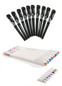 2 Pack Gel Pen Set Non Bleed 8 Assorted Colour Fine Point Pen 0.4mm + 12pcs 0.7mm Black Ink Rollerball Pen for Writing,Colouring Book,Journaling, Detailing