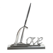 Shoppingmoon Wedding Day Collection Sign Pen with Silver Plated Love Holder Party Pen Set