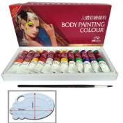 Happlee Body Painting Set, Art Make-Up Face Paint Kit for Kids, Great for Body and Face Painting, Water-Based Non-Toxic & Safety, 12 Colours+1Brush+1Palette