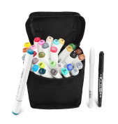 30 Colour TOUCHNEW Marker Pen Set Dual Tips Art Sketch Twin Marker Pens Highlighters with Carrying Case for Painting Colouring Highlighting and Underlining(Comic Selection) (30 Set, White)-Lightwish