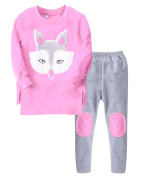 Lannorn Baby Girls' 2 Piece Cartoon Fox Printed Cotton Clothes Set Long Sleeve Solid Colour The Top & Pants Coverall Set .
