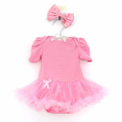 FEESHOW Baby Girls Short Sleeves Romper Tutu Dress Birthday Party Princess Outfits with Headband
