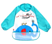 Kangkang@ Cute Cartoon Waterproof Sleeved Bib Baby Smock Baby Bibs Elephant, 0-3 Years Baby apron eat baby clothes bib baby bib to draw the clothes children overall