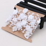 Wrisky 5M Satin Rose Flower Faux Pearl String Bead Garland Wedding Table Decoration DIY
