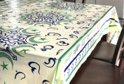 Moon and Star with Arabic Letters Plastic table cover 270cm X 140cm