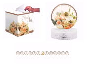 Rose Gold Bridal Shower Decoration Pack Banner, Centrepiece and Card Box