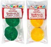 Green and Gold Yellow Crepe Paper Streamers (2 Rolls Each Colour) MADE IN USA!