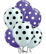 Polka Dot Balloons 28cm Premium Purple and Metallic Silver with All-Over print White and Black Dots Pkg/12