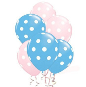 Balloons 28cm Premium Latex Assorted Pale Pink & Pale Blue with White Polka Dots