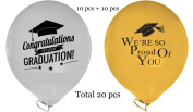 """[USA-SALES] Graduation Party Balloons """"We are So Proud of You"""" and """"Congratulations on Your Graduation"""", Graduation Party Decorations, Qty. 20 pcs, 30cm Premium Latex Quality, by Usa-Sales Seller"""