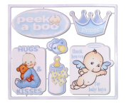 "ACI PARTY and SPIRIT ACCESSORIES ""It's A Boy"" Embellishment 6 Designs, White/Blue"