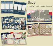 Navy Scrapbook Kit - 5 Double Page Layouts