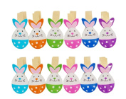 2Pack/24Pcs Paper Photo Peg Pin Postcard Mini Clothespin Cute Easter Egg Style Scrapbooking Craft Clips Photography Prop with Twine