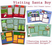 Visiting Santa Boy Scrapbook Kit - 5 Double Page Layouts