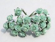 100 pcs mini Rose Mint Green colour Mulberry Paper Flower 20 mm scrapbooking wedding doll house supplies card By' Thai decorated