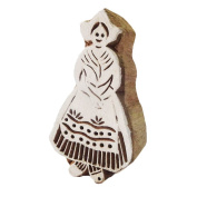 """Handmade Wooden Block Lady Design Brown Home Décor Textile Printing Fabric Stamp Block Indian Gift Item 3.5"""" x 2"""" x 1"""""""