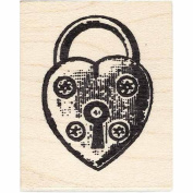 Heart Lock Rubber Stamp