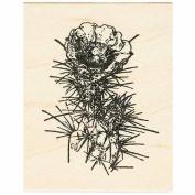 Flowering Cactus Rubber Stamp