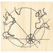 Earth Map Rubber Stamp Collage Stamping