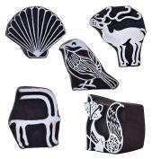 CraftyArt Lot of 5 Wooden Textile Handmade Decorative Wod Printing Block Clay Potter Craft Scrapbook Stamps