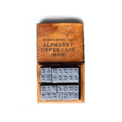 Alphabet Rubber Stamps Letters,Punctuation in Wooden Box Set with Colour Random Inkpad Gift