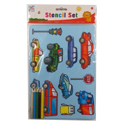 Vehicle Stencil Pack - Stencils, Templates, HB and Colouring Pencils, Kids Create