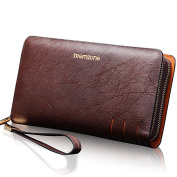 Teemzone Wallet Mens Leather Business Style Clutch Bag with Wrist Strap