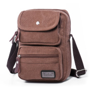 Hengwin Multi-Pocket Canvas Small Cross Body Bag for Men and Women Travel Walking Outdoor Sports, fits for iPad Mini