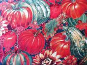Pumpkins, Apples & Sunflowers Metallic Cotton Fabric