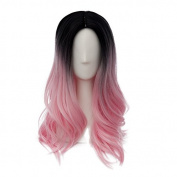 Fashion Pink Mixed Black Long 55CM Wavy Lolita Lady Cosplay Wig Heat Resistant