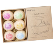 U-KISS 6 PCS Bath Bomb Gift Set, All Natural Essential Oil Bath Bomb, Birthday Gifts for her, Teen girls, Valentine gift