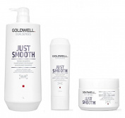 Goldwell Dualsenses Just Smooth Taming Shampoo 1000ml, Conditoner 200ml and 60sec Treatment 200ml