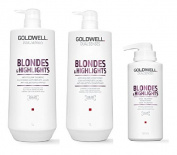 Goldwell Dualsenses Blondes & Highlights A-Y Shampoo 1000ml, Conditoner 1000ml and 60sec Treatment 500ml