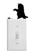 pu ran Removable DIY Black Cat Background Wall Sticker for Switch Socket Bedroom Decor Art Decal - B