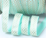 TopHunter 1.6cm 10 Yds Fold Over ElASTIC Strips Stretch FOE Ribbon For Hair Tie Hair Band Headband Accessories,Aqua